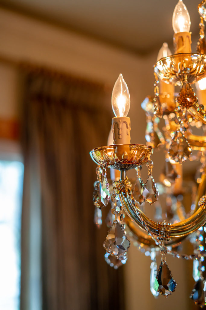 detail of swarovski crystal chandelier