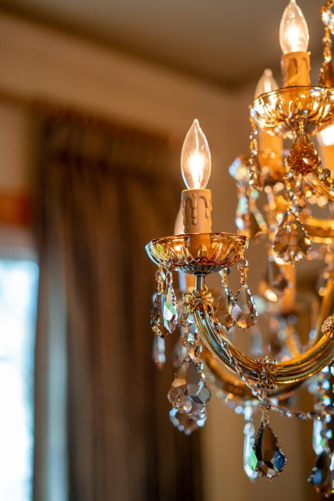 detail of swarovski crystal chandelier